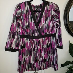 INC International Patterned blouse with vneck